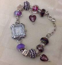 Handmade Unique Luxury Murano Glass Charm Beaded Watch With Czech Crystal Beads