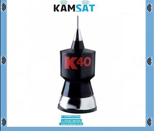 BASE LOADED MOBILE CB ANTENNA K40 BLACK CLASSIC 40 CHANNELS STAINLESS WHIP ANT