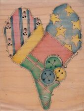 """heart country love susie king Wood Mounted Rubber Stamp 2 3/4 x 4""""  Free Ship"""