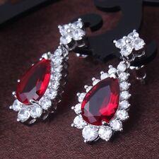 Sweet heart gift! garnet 18k white gold filled shining dangle earring