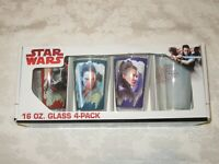 ICUP Star Wars Disney The Last Jedi 16 oz Glass Clup 4-Pack Leia Rey