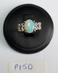 Ring Opal and White Sapphires 9ct YG Size N - P150