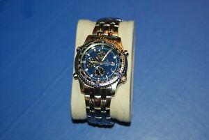 Festina Sport Chronograph MEN Watch BLUE DIAL SILVER BRACELET DATE AT 3 6597