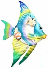 LARGE METAL ANGEL FISH OCEAN WALL ART HOME DECOR TROPICAL ISLAND MODERN FISHING
