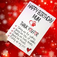 Happy Birthday Cards From The Dog Funny Cards Mum Thank You Dog Mum Mom PC271