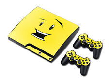 PS3 PlayStation 3 Slim Skin Design Foils Aufkleber Schutzfolie Set - Smiley