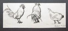Huhn und Hahn Tierstudien Richard Pietzsch 1872-1960 Kohlezeichnung 1920er Jahre