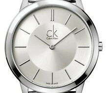 Calvin Klein K3M22126 Ladies Silver Dial Black Leather Strap Swiss Quartz Watch