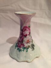 RARE Vintage Dominie's Collection Pink Floral Design Pillar Candle Holder Stand