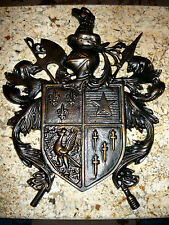 Shield Medieval Wall Decor with Fleur de Lis, Eagle, Knight. Coat of Arms. NEW