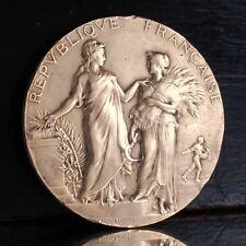 AntiqueFrench BronzeMedal Bas-Relief Hallmark, Signed Alphée Dubois, 1905