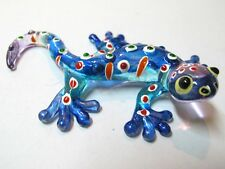 Lampwork COLLECTIBLE MINIATURE HAND BLOWN Art GLASS Blue Gecko FIGURINE Animal