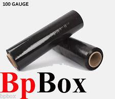 100 Gauge 2 Stretch Film Rolls Wrap Packaging 18 X 1000 Black