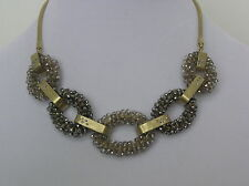 Kenneth Cole Gold Tone Crystal Large Link Statement Necklace