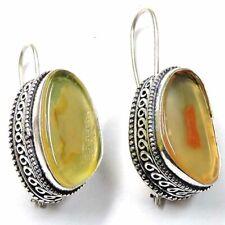 "Botswana Onyx Agate Gemstone 75.00Cts Silver Overlay Handmade Earrings 1"""