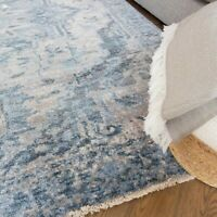 Blue Traditional Rugs for Living Room Oriential Luxury Rugs Cotton Trimmed CHEAP