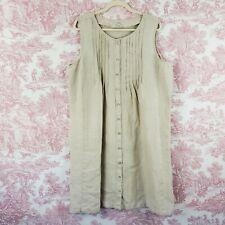 LL Bean Linen Jumper Dress Pintuck Sleeveless Oatmeal Beige Size Plus 20 Knee