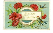 Birthday Greetings embossed used postcard 1918