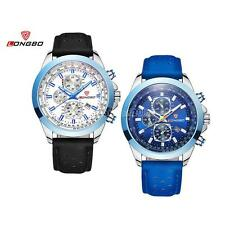 LONGBO Mens Artificial Leather Perforated Belt Watch Waterproof Sports Watches