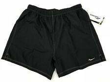 "Saucony Men's Alpha Running Shorts Size XL Black 5"" Inseam Brief Lined Run Dry"