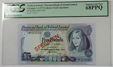 1977 Northern Ireland 5 Pound Specimen Note SCWPM248a-CS2 PCGS 68 PPQ Superb Gem