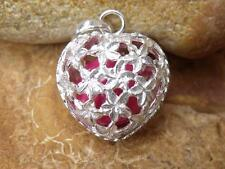 HEART SHAPED HARMONY/CHIME BALL/ANGEL CALLER BALINESE 925 SILVER PENDANT PINK
