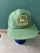 Vintage John Deere Trucker Hat Snapback Cap Patch Mesh Louisville Mfg USA Green