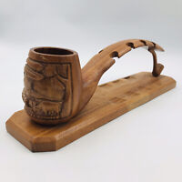 """Vintage Wood Eight (8) Pipe Smokers Caddy Rack Stand Holder 5"""" Tall 17.5""""x4.25"""""""