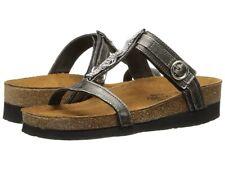 NAOT Malibu Slides Sandals Metal Leather Rhinestone T Strap Women's Size: 39 / 8