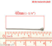 HOT!!  250X Silver Tone Stainless Steel Ball Head Pins 40x0.7mm(21 Gauge)