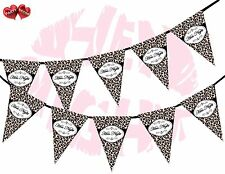 Hen Night Sign Leopard Spots Print Black Pink Party Style Bunting Banner Stylish