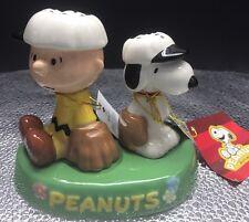 Peanuts Snoopy & Charlie Brown Baseball Magnetic Salt & Pepper Shakers -Westland