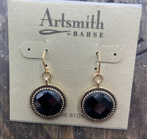 Barse Mademoiselle Orb Earrings- Faceted Onyx -Bronze- NWT