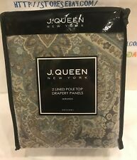 J. QUEEN NEW YORK MIRANDA 2 LINED POLE TOP DRAPERY PANELS. BRAND NEW!