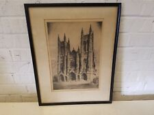 Vintage Black and White Framed Cathedral Print