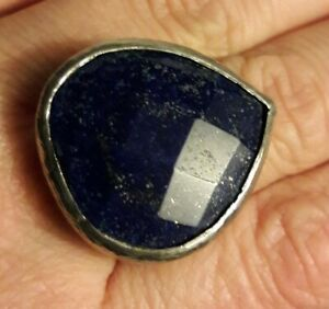 Fine Sterling Silver Faceted Lapis Lazuli Ring Size 6.75 signed CAA 925