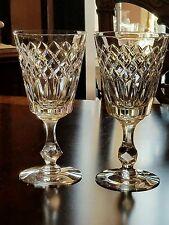 "Pair Tiffin Bristol Water(s) 7.5"" vertical  criss cross cut goblet(s), glass(es)"