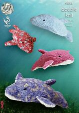 KNITTING PATTERN Large & Small Dolphins Baby Stuffed Toys Cuddles PATTERN 9045
