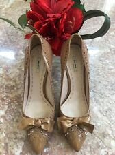 Miu Miu Beige Perforated Patent Leather Bow Heel Classic Pumps Shoes Size 6
