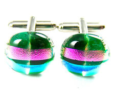 Pink Blue Round Formal Wear Men 15mm Cuff Links Glass Dichroic Marble Teal Green