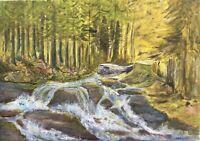 Naturalist Tannenwald mit Flusslauf Bach - Ölgemälde - Natur 50 x 70 cm