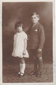OLD PHOTO CHILDREN GIRL DRESS BOY WARRINGTON CHESHIRE W6