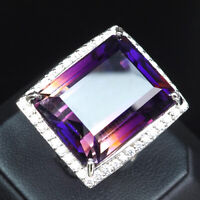 PURPLE YELLOW AMETRINE OCTAGON CUT 44.10CT.SAPP 925 STERLING SILVER RING SZ 6.25