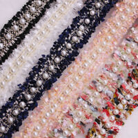 1Pc Vintage Gold Pearl Beaded Embroidered Lace Trim Ribbon DIY Sewing Craft----
