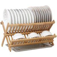 Bamboo Wooden Dish Rack Foldable Kitchen Drying Bowl Holder Plate Holder 竹碗碟架