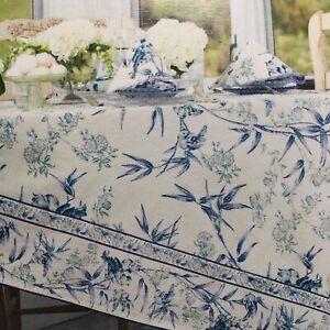 April Cornell 60x84 Tablecloth BAMBOO GARDEN Blue Cream Floral Birds New Free 📦