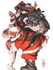 Santa Sack of Toys hugging child  by Joseph Christian Leyendecker