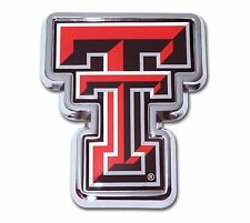 """Texas Tech Red Raiders Chrome Metal Auto Emblem (""""TT"""" with Color) NCAA Licensed"""