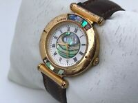 Fossil Rare Vintage Watch Analog Ladies Wrist Watch Real Stone Face Leather Band