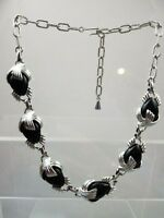 Vintage Emmons 1960s Silvertone &  Black Lucite Adjustable Necklace